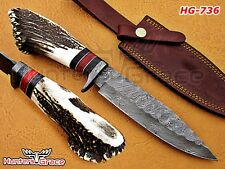 DAMASCUS CUSTOM HAND MADE HUNTING BOWIE KNIFE BEAUTIFUL STAG CROWN HANDLE HG-736