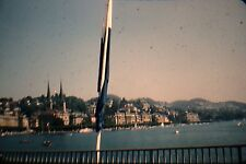 KODACHROME Red Border 35mm Slide Lake Lucerne Switzerland Boats Buildings 1950s!