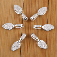 New 50Pcs Silver Tone Oval Tear Glue on Bails Setting For Necklaces Pendant Loop