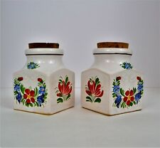 Pair of Vintage Decorative Ceramic Jars. Hand Painted Folk/Primitive Art Style.