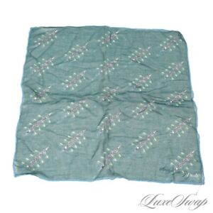 #1 MENSWEAR Drakes England Teal Voile Crew Rowing Boat Print Voile Pocket Square