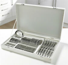 48 pc Polished Steel White Box Canteen Cutlery Set  1 SPOON MISSING
