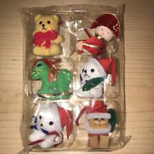 6 Vintage Holiday Ornaments Flocked Felt Felted Bear Horse Santa Christmas Xmas