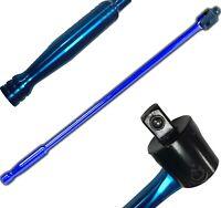 "24"" Breaker Bar 1/2"" Socket Sq Drive Power Flexi Knuckle Blue Chrome 600mm Long"