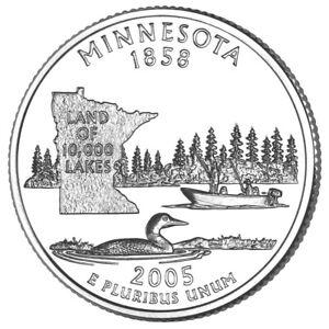 "MINNESOTA 2005  State Quarter 25c Brilliant Uncirculated  "" P "" Mint  MN"