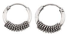 925 Sterling Silver 10mm Tribal Wrap Bali Hoop Earrings