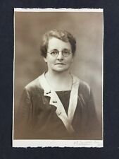 Edwardian Cabinet Card Photo Lady: Langdon & Son: Wilts: Metal Glasses Spectacle