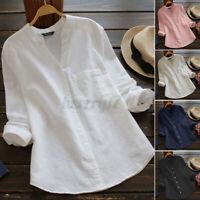 ZANZEA Womens V Neck Long Sleeve Casual Loose Tops Solid Cotton Shirt Tee Blouse