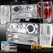 1994-1998 Chevy Silverado Tahoe (10PCS) Halo Projector LED Headlights+Tail Light