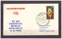 DDR (R.d.a.) , Tu 134 Premier Vol Berlin - Bucarest Sst Berlin 04.11.1969