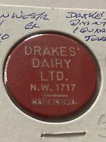 Vintage Token, Drakes Dairy 1 Quart Jersey Milk Coin Token P3