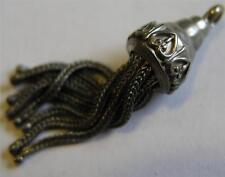 Antique Victorian UK Sterling Silver Fleur de Lis Tassel Fob Charm ~ Beautiful!