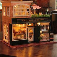 DIY Coffee Wooden Dollhouse Miniatures House Kit LED Light Music Villa Kids Gift