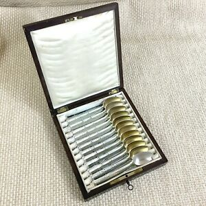 Antique French Teaspoons sfam chambly volga Boule Work Box Silver Plated 12 Set
