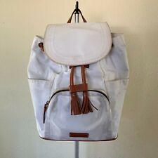 Dooney & Bourke Womens Backpack Drawstring White Nylon Brown Leather Trim