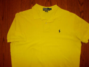 RALPH LAUREN SHORT SLEEVE YELLOW POLO SHIRT MENS LARGE EXCELLENT CONDITION