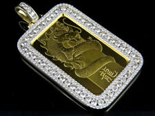 24 K Solid Dragon Coin Bar 1 OZ PAMP Suisse Swiss Custom Pendant Charm 7.5 Ct