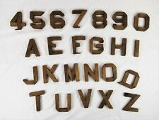 Antique Vintage Primitive Folk Art Wood Cut Out Letters and Numbers