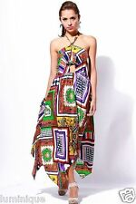 Paisley Multi-coloured Halter Maxi Scarf Bandana Dress Summer Evening Boho Gypsy