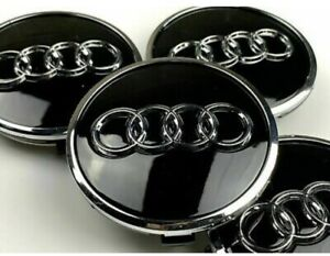 Set Of 4 Audi Black Alloy Wheel Hub Centre Caps Badges 61mm