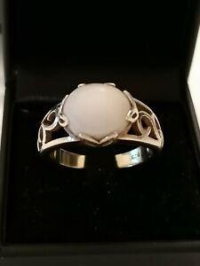 Silber Ring Weisser Edelstein 925 Silber Art Deco Antik rar Vintage