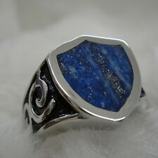 Route Sign Lapis Lazuli with Gold Pyrite Ring for Harley Davidson Motor Biker 32