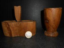 ANCIEN SALIERE POIVRIERE MOUTARDIER EN BOIS D OLIVIER PROVENCAL PROVENCE CUISINE