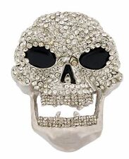 Skull Belt Buckle Skeleton Mens Women Rhinestone Silver Metal Gothic Tribal New