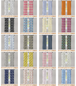 Ambesonne Drape Wrinkle-Free Printed Fabric 2 Panel Microfiber Curtain Window