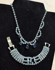 Vintage Silvertone Blue Clear Rhinestones Set Bracelet Necklace