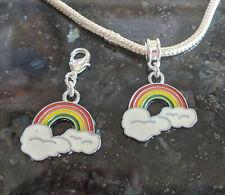 1 x Rainbow Enamel Charm European/ Clip On Zip Pull NHS Key Worker Charity Pride