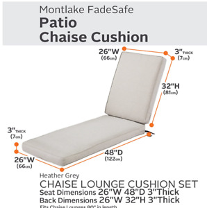 """Classic Accessories MONTLAKE Chaise Lounge Cushion 80x26x3"""" Cover Heather Grey"""