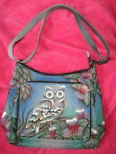 Soft Leather Hand Painted Purse Handbag, Owl & Flowers, Anuschka
