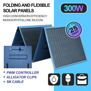 12V 300W Folding Solar Panel Kit Caravan Camping Power Charging Battery Charger