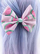 Pastel Watermelon Medium Fabric Hair Bow Watercolour Summer Hair Clip
