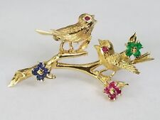 Vintage 14k Gold Ruby, Emerald, Sapphire Gorgeous Bird Brooch Pin