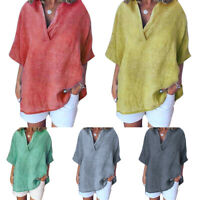 Plus Size Women Short Sleeve V Neck Blouse T-Shirt Casual Loose Summer Tunic Top