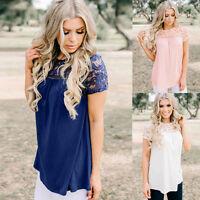 UK Womens Short Sleeve Lace Blouse Ladies Summer Hollow Loose Tank Tops T-Shirt