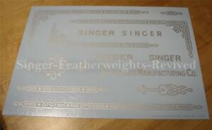 SINGER FEATHERWEIGHT SILVER METALLIC **PRE TRIMMED** DECALS / SCREEN PRINTED