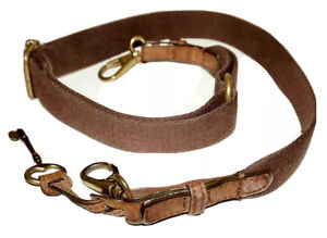 """FOSSIL Brown Cotton Webbing & Leather 24"""" - 38"""" Replacement Strap & Key Fob"""