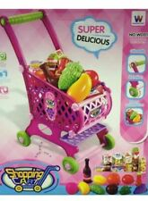 40pcs Kids Childrens Shopping Trolley Cart Role Play Set Toy Plastic Fruit Food