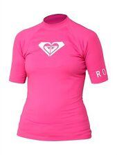 NWT Women's Roxy Whole Hearted Short Sleeve Pink Rashguard UPF 50+ Size 10