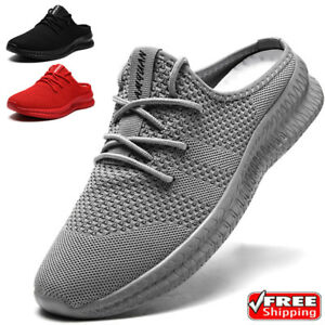 Mens Breathable Mesh Slippers Slip-on Mules House Shoes Summer Beach Sandals