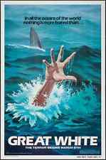 GREAT WHITE L'ULTIMO SQUALO 1982 one sheet teaser movie poster 27x41 SHARK JAWS