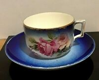 Antique K et G Luneville France Blue & White with Pink Roses Cup & Saucer Set