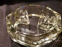 """Vintage Clear Glass Octagon Ashtray With """"Coral Fence"""" Cigarette Holders 5.5"""""""