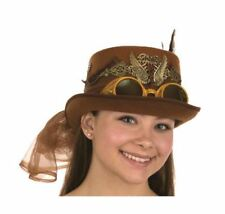 Steampunk Top Hat Goggles Wings Feathers Tulle Brown