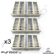 3X stérilisation cassette rack plateau détiennent 10 chirurgie dentaire instrument autoclave