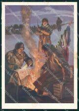 WW2 WWII Propaganda Soldati Un Bivacco Duval FG cartolina XF7093