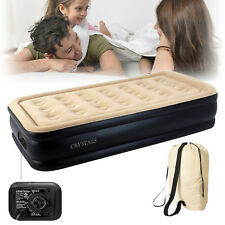 Inflatable High Raised Single Air Bed Mattress Airbed With Builtin Electric Pump